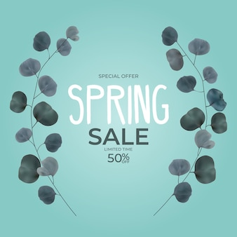 Ramo de moldura de venda de primavera natural realista com folhas de eucalipto