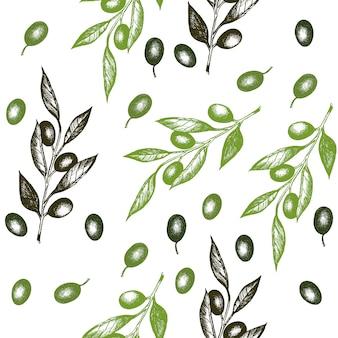 Ramo de oliveira sem costura padrão vector