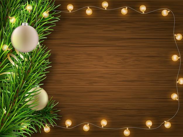 Ramo de pinho garland na madeira