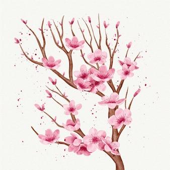 Ramo em aquarela de flor de cerejeira