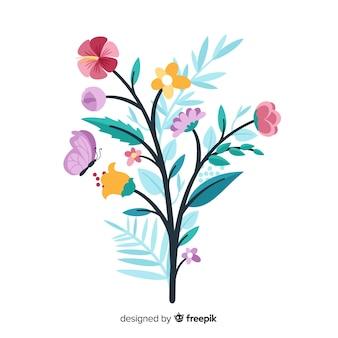 Ramo floral fofo em design plano