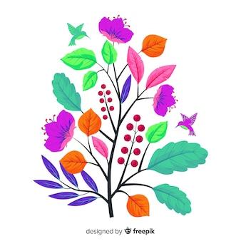 Ramo floral plano colorido