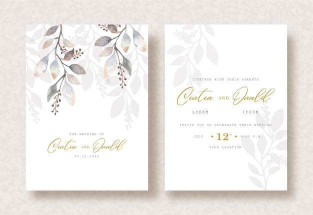 Ramo folhas pintura aquarela sobre fundo de convite de casamento