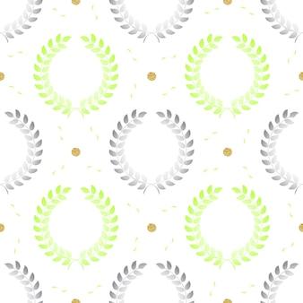 Ramo simples e cinza sem costura de ramos de oliveira com brilho de ponto de prata no fundo do padrão de faixa