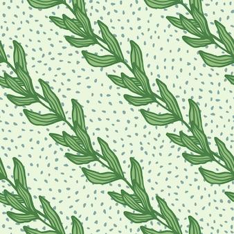 Ramo vintage com folhas padrão sem emenda sobre fundo verde claro. cenário de folhagem. papel de parede da natureza. para desenho de tecido, impressão têxtil, embalagem, capa. ilustração retro do vetor.