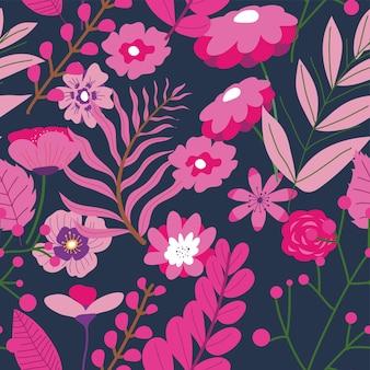 Ramos com folhas exuberantes e flores florescentes. planta florescente, botânica exótica ou tropical. fundo floral romântico natural ou impressão. flor sazonal. padrão uniforme, vetor em estilo simples