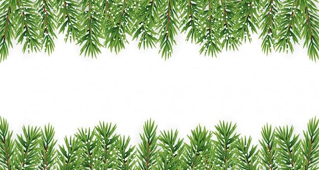 Ramos de abeto com neve. feliz natal e ano novo fundo de inverno.