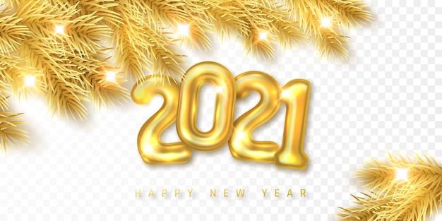 Ramos de abeto dourado de natal com números de balão de hélio dourado