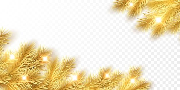 Ramos de abeto dourado de natal