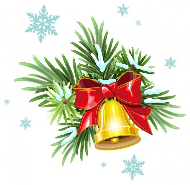 Ramos de abeto, fita vermelha e sino de ouro. decoração de natal