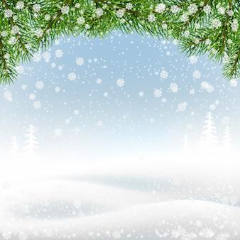 Ramos de abeto na paisagem de inverno. fundo de natal.