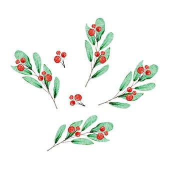 Ramos de bagas vermelhas de decorações de natal