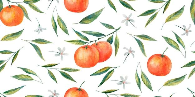 Ramos de tangerina padrão sem emenda, frutas cítricas, ilustração de folhas e flores de tangerina