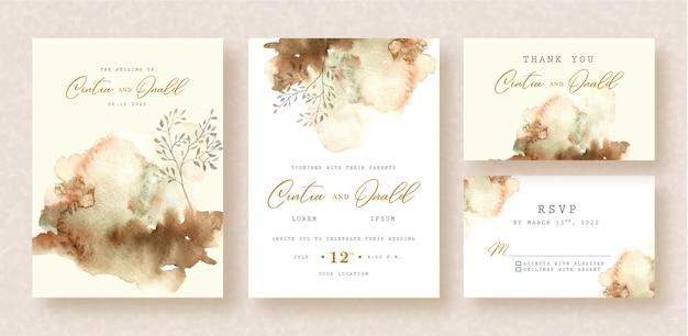 Ramos florais com pintura de respingo no fundo do convite de casamento