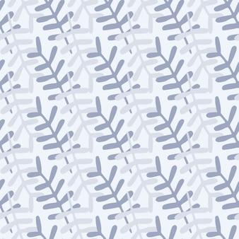 Ramos ornament sem costura padrão ingênuo. elementos botânicos em tons pastel azuis sobre fundo claro. pano de fundo simples.