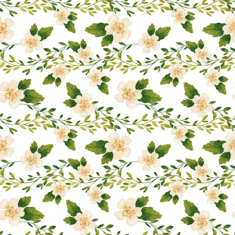 Ramos românticos e aquarela sem costura padrão de flores desabrochando em fundo branco