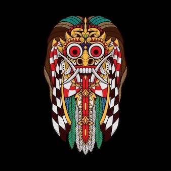 Rangda barong bali indonésia tshirt design ilustração