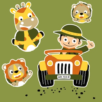 Ranger e animais bonitos desenhos animados vetor