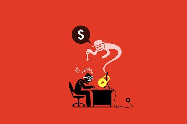 Ransomware bloqueando um computador e pedindo dinheiro.