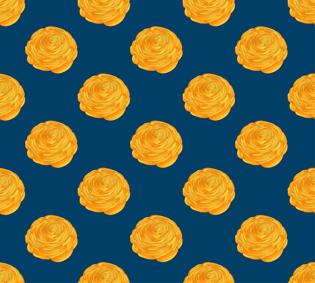 Ranúnculo amarelo sobre fundo azul índigo
