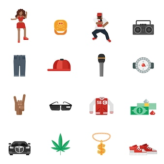 Rap music flat icons
