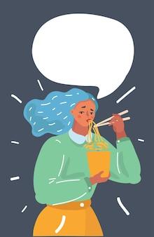 Rapariga a comer macarrão ramen com pauzinho