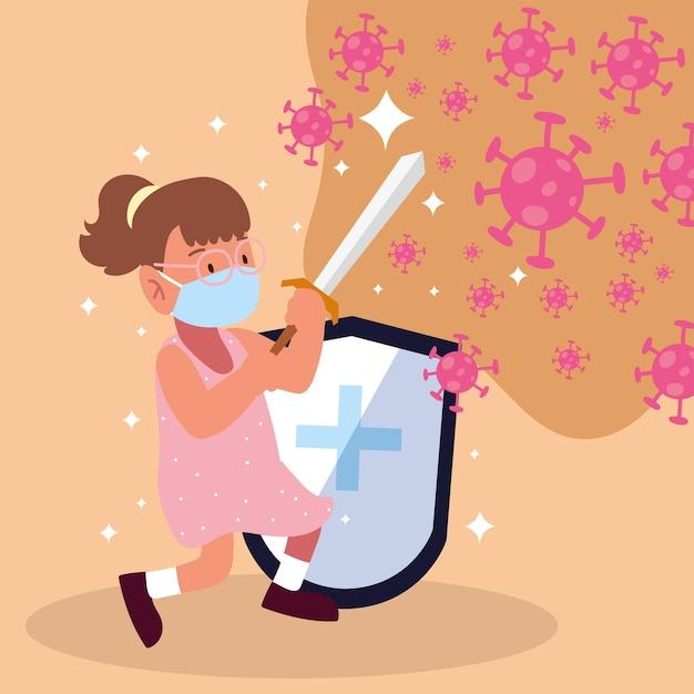 Rapariga a lutar cobiçosamente com espada