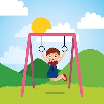 Rapariga brincando com anéis de barra no parque e dia ensolarado