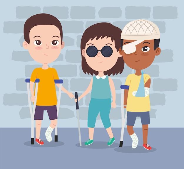 Rapariga cega e rapazes deficientes