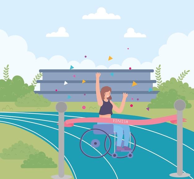 Rapariga com deficiência em cadeira de rodas desenho animado