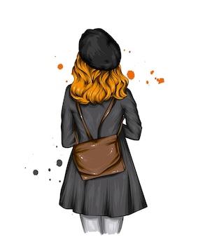 Rapariga com uma boina elegante e um casaco com uma mochila Vetor Premium