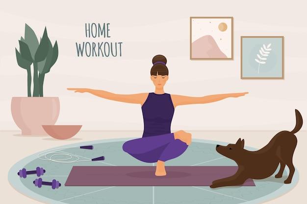 Rapariga e cão a fazer exercícios de fitness em casa com ilustração de texto de treino em casa Vetor Premium