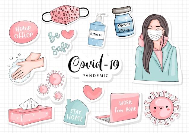 Rapariga e covid - 19 conceito, autocolante de estilo de vida feminino
