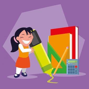 Rapariga estudante com material escolar, volta às aulas