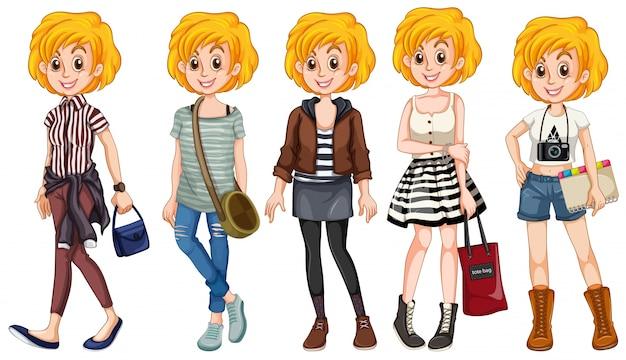 Rapariga loira em trajes diferentes