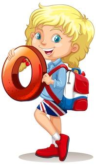 Rapariga loira segurando matemática número zero
