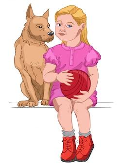 Rapariga loira vestida com um vestido rosa e botas vermelhas segurando uma bola vermelha enquanto está sentada com seu cachorro