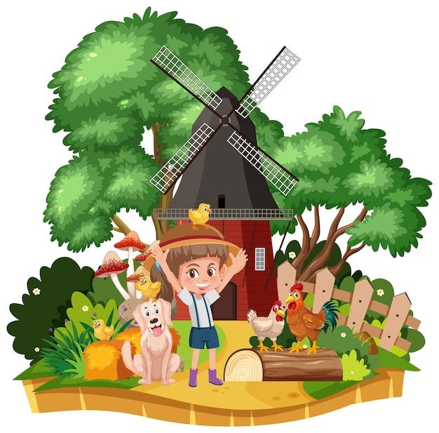 Rapariga na paisagem rural de uma casa