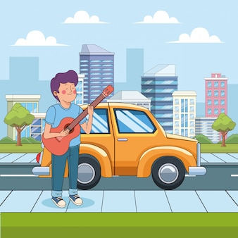 Rapaz adolescente dos desenhos animados, tocando violão na rua