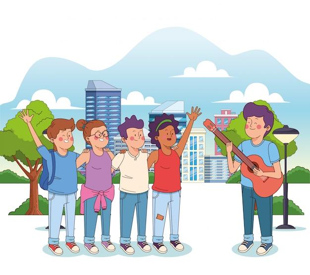 Rapaz adolescente dos desenhos animados, tocando violão para seus amigos felizes