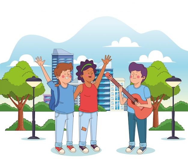 Rapaz adolescente dos desenhos animados, tocando violão para um casal