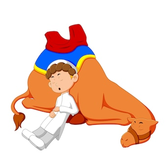 Rapaz árabe com desenho de camelo