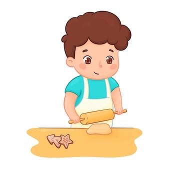 Rapaz assando biscoitos. ilustração de personagem de uma criança