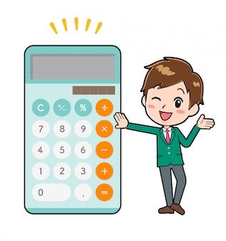 Rapaz bonito personagem de desenho animado, calculadora brag