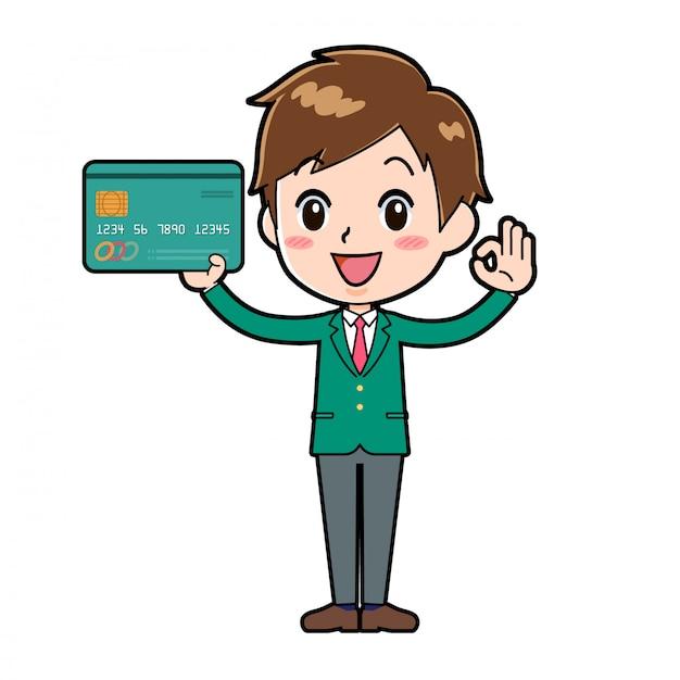 Rapaz bonito personagem de desenho animado, cartão de crédito