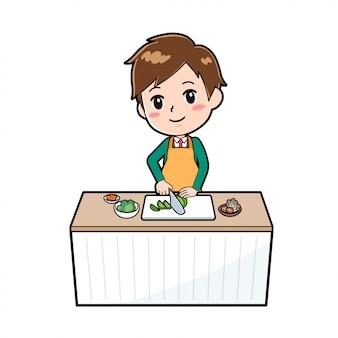 Rapaz bonito personagem de desenho animado, corte de cozinheiro