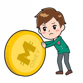 Rapaz bonito personagem de desenho animado, empurrão de moeda