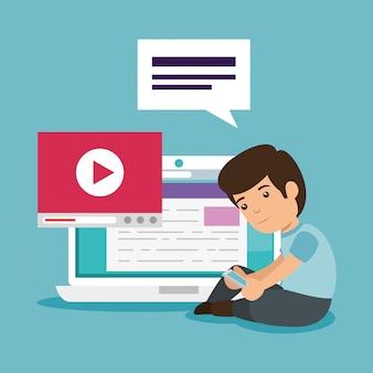 Rapaz com documento educacional e tecnologia de vídeo