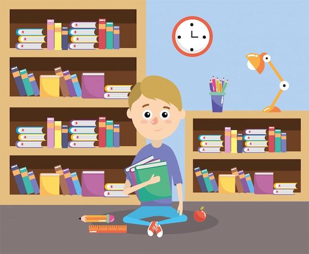 Rapaz com livros de educação fornece na sala de aula