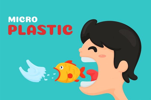 Rapaz comendo um peixe que está comendo um saco de plástico